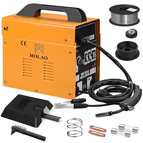 SUNCOO 130 MIG Welder Flux Core Wire Automatic Feed Welding Machine 110 Volt with Free Mask and Spool Gun Yellow