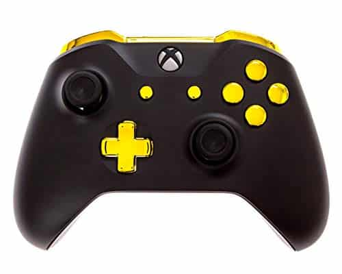 Xbox One D Modded Controller Black and Gold Chrome - Xbox 1 - Master Mod Includes Rapid Fire, Drop Shot, Quick Scope, Sniper Breath, and More - Works for All Shooting Games