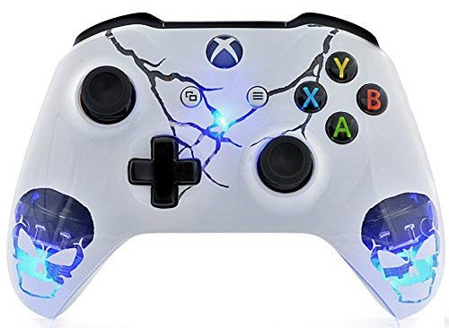 Skulls White Xbox One S Rapid Fire Custom Modded Controller 40 Mods for All Major Shooter Games, Auto Aim, Quick Scope, Auto Run, Sniper Breath, Jump Shot, Active Reload, and More (with 3.5 Jack)