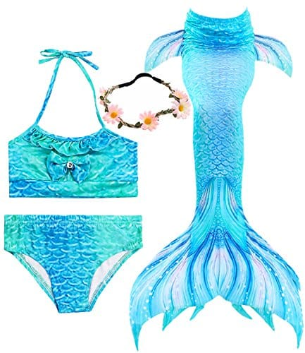 3 Pcs Girls Swimsuit Mermaid Tails- for Swimming