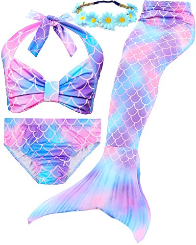 Garlagy 3 Pcs Girls Swimsuit Mermaid Tails