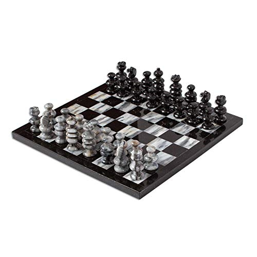 NOVICA Decorative Hand Carved Sophisticate' Marble Chess Set