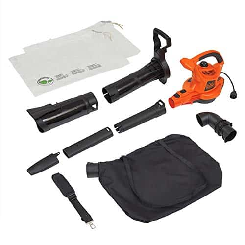 BLACK+DECKER 3-in-1 Electric Leaf Blower & Mulcher with Leaf Vacuum Kit, 12-Amp