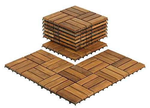 Bare Decor BARE-WF2009 Solid Teak Wood Interlocking Flooring Tiles