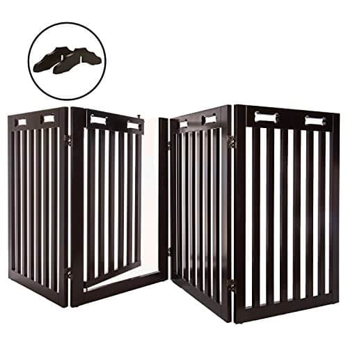 Arf Pets Free Standing Wood Dog Gate with Walk Through Door