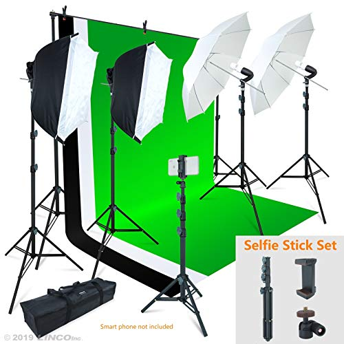 Linco Lincostore Photo Video Studio Light Kit/ Includes 3 Backdrops