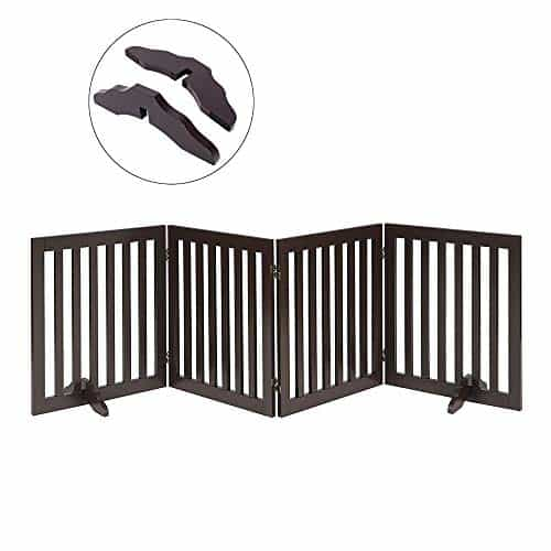 Total Win Freestanding Pet Gate for Dogs with 2PCS Support Feet, Foldable Wooden Dog Gates for Doorways Stairs