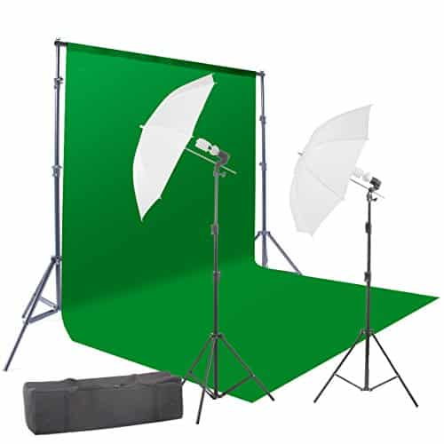 StudioFX 400W Chromakey 6ft x 9ft Green Screen Backdrop & Photography Video Lighting Kit
