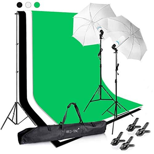 HYJ-INC Photography Umbrella Continuous Lighting & Muslin Backdrop Kit