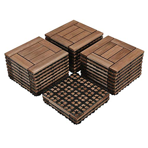 Yaheetech 27PCS Wood Flooring Decking Deck Tiles Interlocking Patio Pavers Dance Bathroom Shower Floor Tiles Solid Wood and Plastic Indoor Outdoor