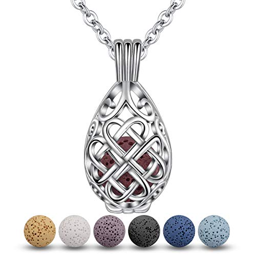 INFUSEU Teardrop Celtic Knot Essential Oil Diffuser Necklace