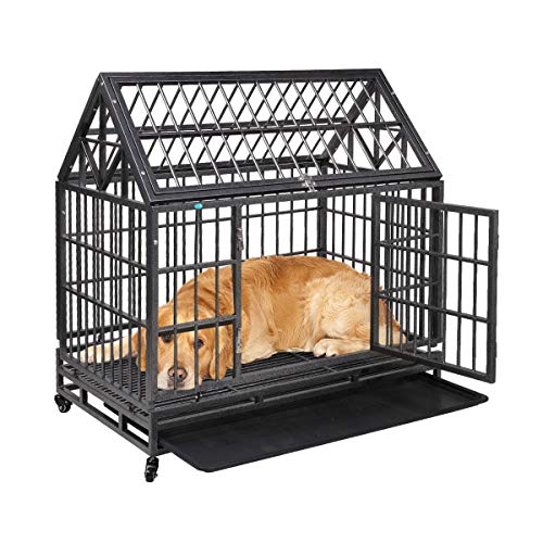 JAXPETY Tip Roof Heavy Duty Dog Cage